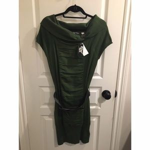 Army Green Planet Gold Knit Dress